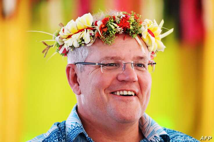 Australia's Scott Morrison arrived at a meeting of Pacific island leaders in Tuvalu, Aug. 14, 2019, with Canberra's regional leadership in question amid intense scrutiny of his government's climate change policies.