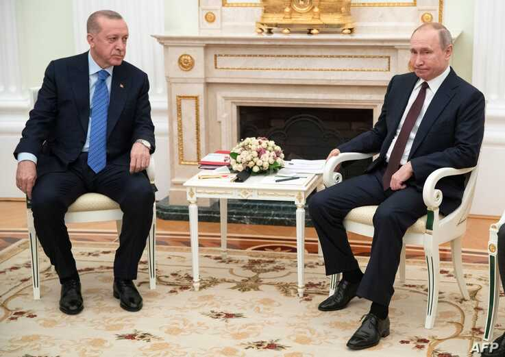 Russian President Vladimir Putin meets with his Turkish counterpart Recep Tayyip Erdogan at the Kremlin in Moscow on March 5,…