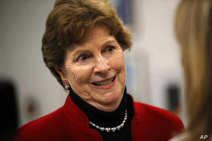 Sen. Jeanne Shaheen, D-NH, speaks to a reporter at the Portsmouth Naval Shipyard, Friday, May, 3, 2019, in Kittery, Maine. (AP Photo/Robert F. Bukaty)
