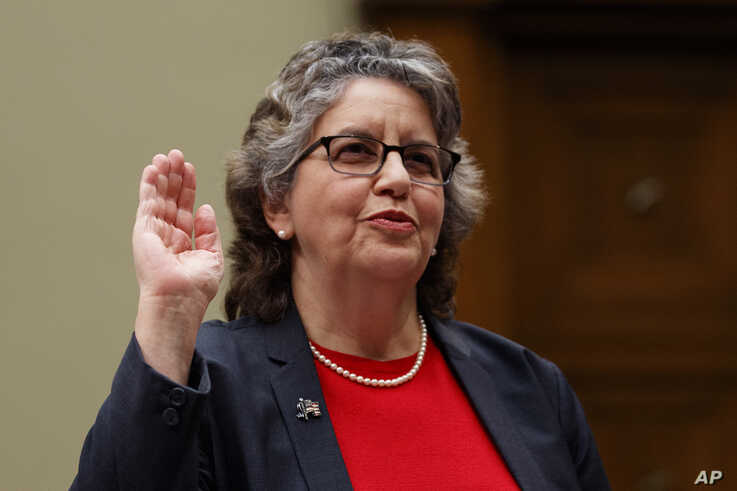 """U.S. Federal Election Commission Commissioner Ellen Weintraub is sworn in to testify on Capitol Hill in Washington, Wednesday, May 22, 2019, before the House Oversight and Reform National Security subcommittee hearing on """"Securing U.S. Election…"""