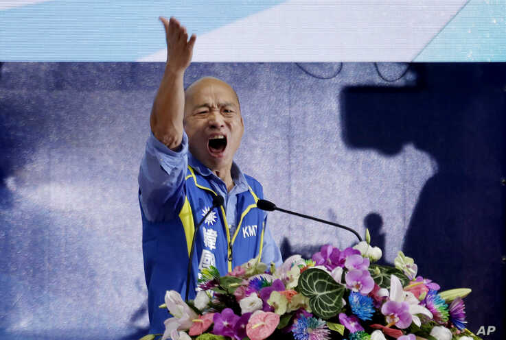 Kaohsiung city mayor and presidential candidate of Taiwan's Nationalist Party in the 2020 elections, Han Kuo-yu, gestures during a party congress in New Taipei City, Taiwan, July 28, 2019.