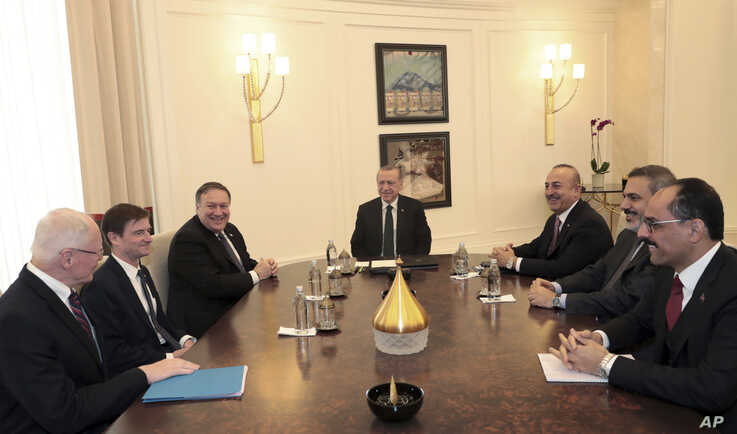 Turkey's President Recep Tayyip Erdogan, center, U.S. Secretary of State Mike Pompeo, third left, U.S. Special Representative for Syria Engagement James Franklin Jeffrey, left, Turkey's Foreign Minister Mevlut Cavusoglu, third right, Turkey's…