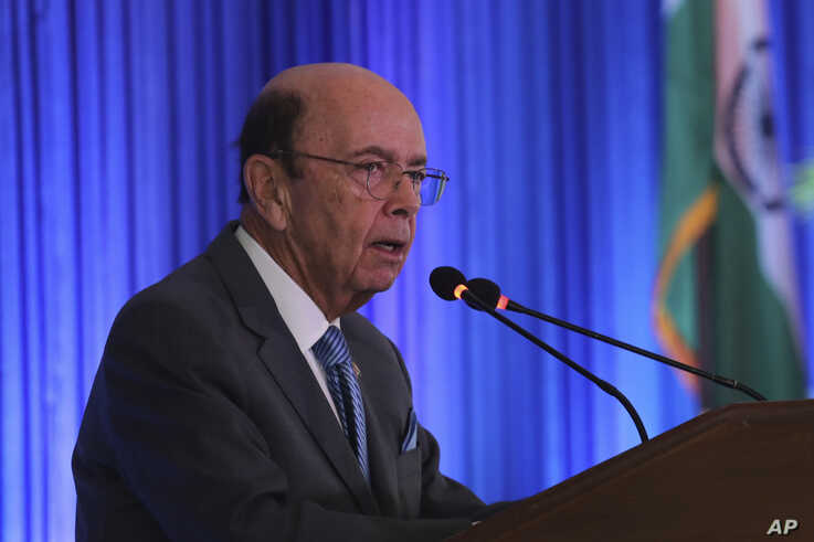 US commerce secretary Wilbur Ross speaks at the 11th Trade Winds Business Forum and Mission hosted by the US Department of Commerce, in New Delhi, India, Tuesday, May 7, 2019. Top executives of more than 100 U.S. companies are visiting India to meet…