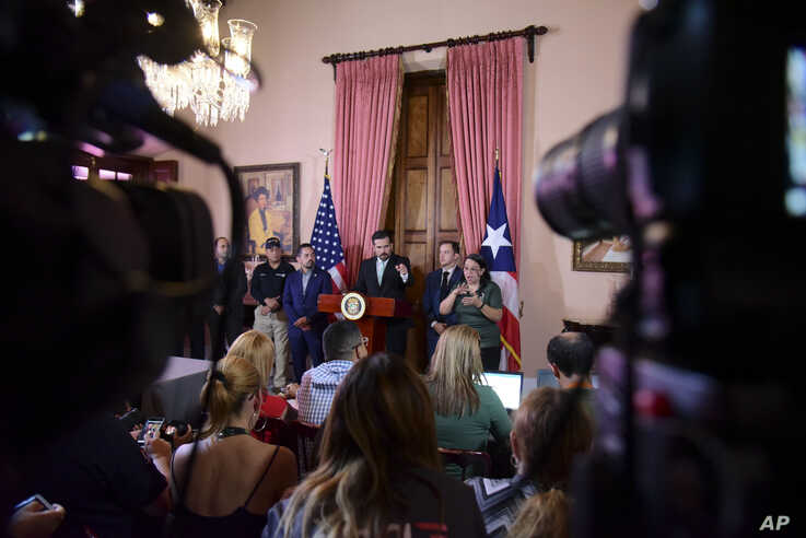 Puerto Rico Gov. Ricardo Rossello speaks during a press conference in La Fortaleza's Tea Room, in San Juan, Puerto Rico, Tuesday, July 16, 2019. Rossello summoned the press a few hours after a riot took place near the executive mansion, where…