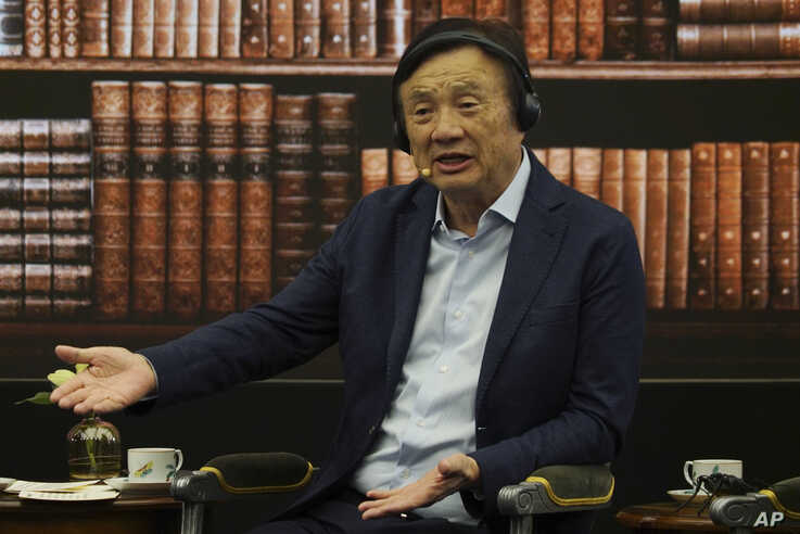 Huawei founder Ren Zhengfei speaks during a roundtable at the telecom giant's headquarters in Shenzhen in southern China on Monday, June 17, 2019. Huawei's founder has likened his company to a badly damaged plane and says revenues will be $30…