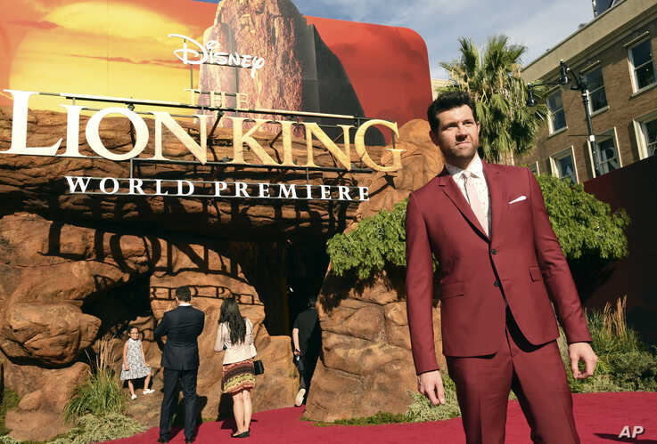 """Billy Eichner, a cast member in """"The Lion King,"""" poses at the premiere of the film, Tuesday, July 9, 2019, in Los Angeles. (Photo by Chris Pizzello/Invision/AP)"""
