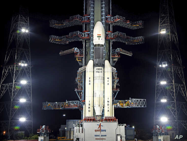 This July 2019, photo released by the Indian Space Research Organization (ISRO) shows its Geosynchronous Satellite Launch Vehicle (GSLV) MkIII-M1 at its launch pad in Sriharikota, an island off India's south-eastern coast. India's space agency says…