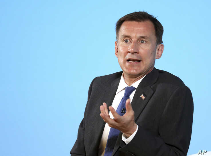Conservative party leadership contender Jeremy Hunt speaks during a party leadership hustings in Belfast, Northern Ireland Tuesday July 2, 2019. The two contenders, Jeremy Hunt and Boris Johnson face election by party member of Britain's…