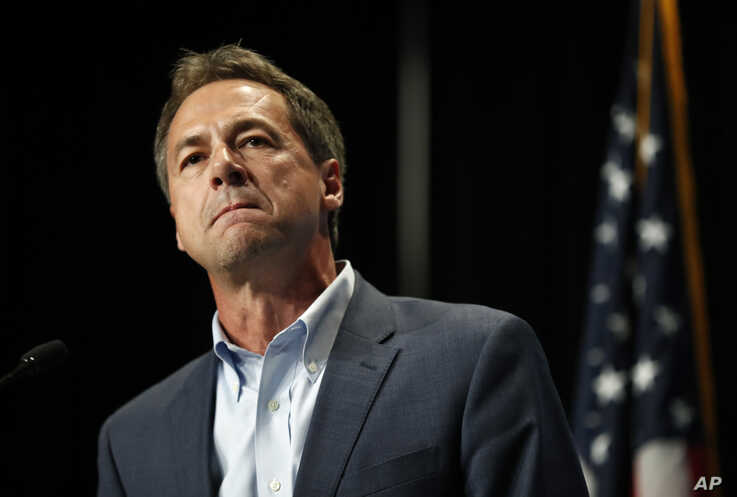 FILE - In this June 9, 2019 file photo, Democratic presidential candidate Steve Bullock speaks during the Iowa Democratic Party's Hall of Fame Celebration in Cedar Rapids, Iowa. Bullock is reporting more than $2 million in contributions during the…