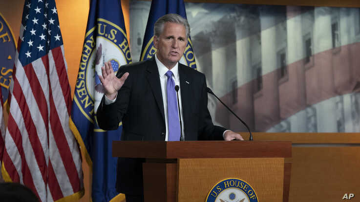 House Republican Leader Kevin McCarthy, D-Calif., speaks to reporters at his weekly news conference at the Capitol in Washington, Thursday, July 25, 2019. (AP Photo/J. Scott Applewhite)