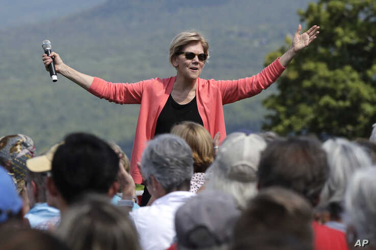 Democratic presidential candidate Sen. Elizabeth Warren, D-Mass., speaks at a campaign event, Aug. 14, 2019, in Franconia, N.H.