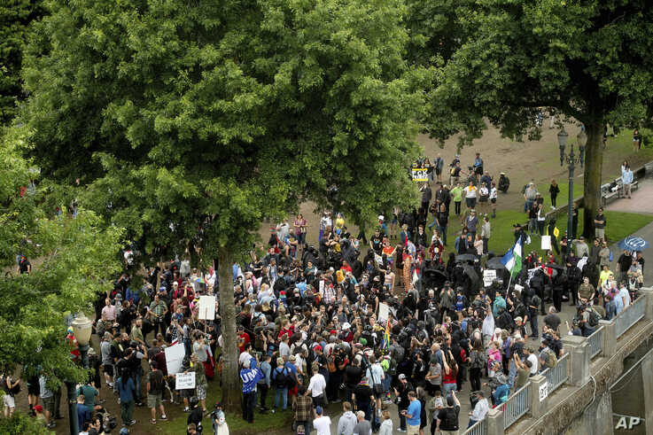 "Right-wing demonstrators and counter-protesters gather in Tom McCall Waterfront Park during an ""End Domestic Terrorism"" rally in Portland, Ore., on Saturday, Aug. 17, 2019.  Police seized metal poles, bear spray and other weapons as hundreds of far…"
