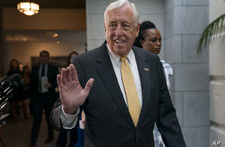 House Majority Leader Steny Hoyer, D-Md., arrives for a gathering of the House Democratic Caucus as Congress returns for the fall session with pressure mounting for a response to gun violence, at the Capitol in Washington, Tuesday, Sept. 10, 2019…