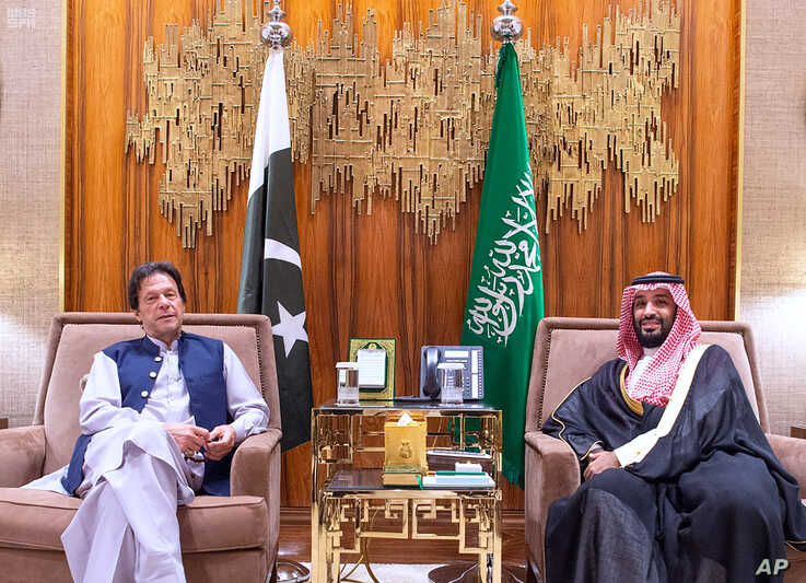 In this Tuesday, Oct, 15, 2019, photo released by Saudi Press Agency, SPA, Saudi Arabia's Crown Prince Mohammed bin Salman,…