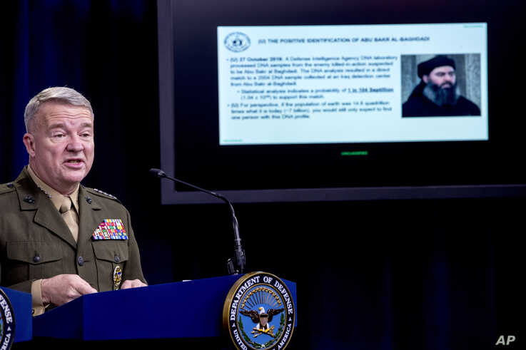 Positive identification information on Abu Bakr al-Baghdadi is displayed as U.S. Central Command Commander Marine Gen. Kenneth…