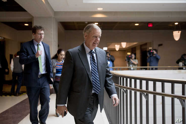 Sen. Lindsey Graham, R-S.C., walks on Capitol Hill in Washington, Wednesday, Oct. 16, 2019. (AP Photo/Andrew Harnik)