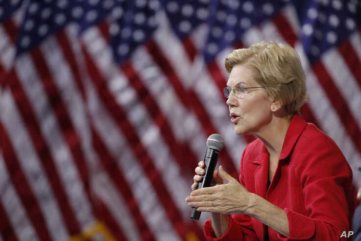 Democratic presidential candidate Sen. Elizabeth Warren, D-Mass., speaks during a gun safety forum Wednesday, Oct. 2, 2019, in…