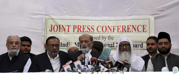 All India Muslim Personal Law Board members address a press conference after the the Supreme Court in New Delhi, India,…