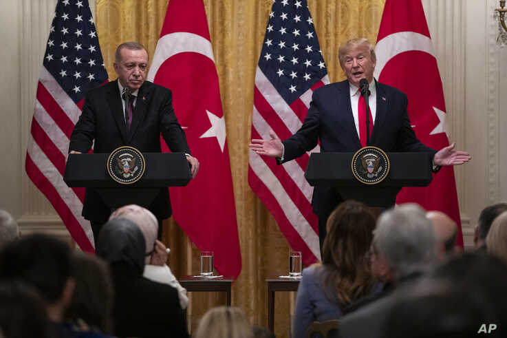 President Donald Trump speaks during a news conference with Turkish President Recep Tayyip Erdogan in the East Room of the…
