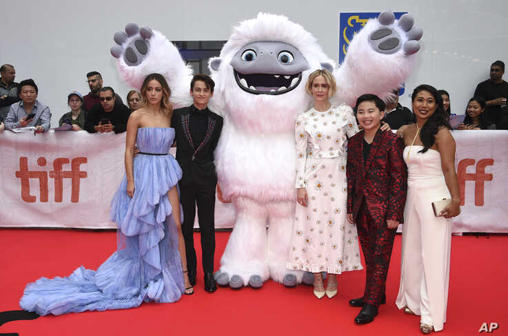 Actors Chloe Bennet, from left, Tenzing Norgay Trainor, Sarah Paulson, Albert Tsai and Michelle Wong pose with the character…