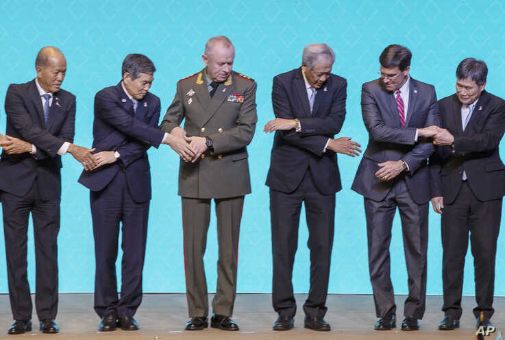 Association of Southeast Asian Nations, ASEAN, defense ministers and dialogue nations defenses ministers from left; Philippines…