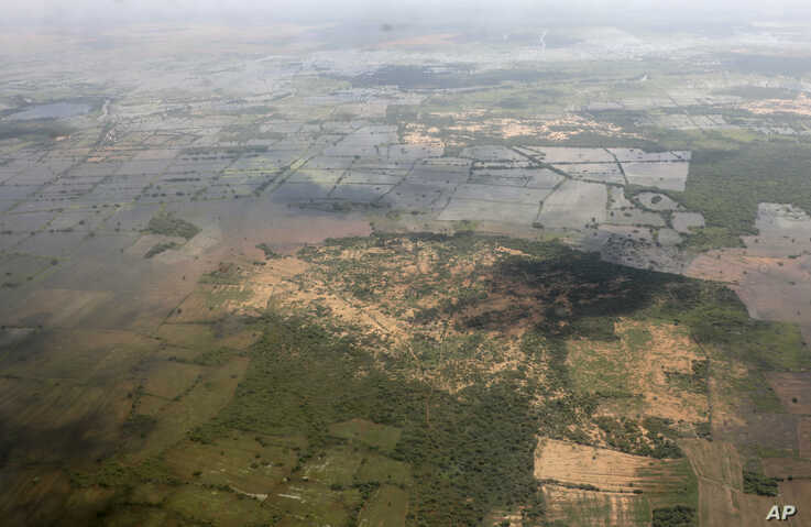 This photo taken Tuesday, Nov. 12, 2019, shows an aerial view of the flooded Hiran region of central Somalia. Authorities have…