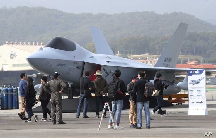 South Korean Air Forces' KF-X Mock-up is displayed during the press day of Seoul International Aerospace and Defense Exhibition…