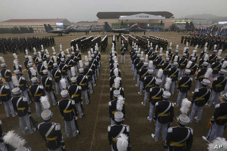 South Korean Army soldiers participate in the 71st anniversary of Armed Forces Day at the Air Force Base in Daegu, South Korea…