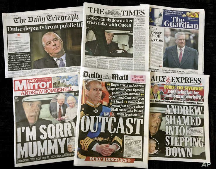 A combination photo of the front-pages of British newspapers on Thursday Nov. 21, 2019 headlining the scandal surrounding…