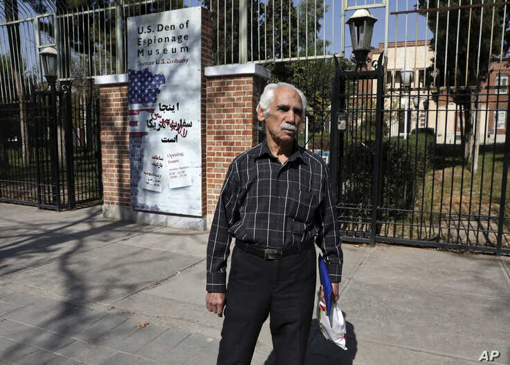 In this Tuesday, Oct. 15, 2019 photo, Hossein Kouhi, who was one of the workers who frequently protested at the U.S. Embassy,…