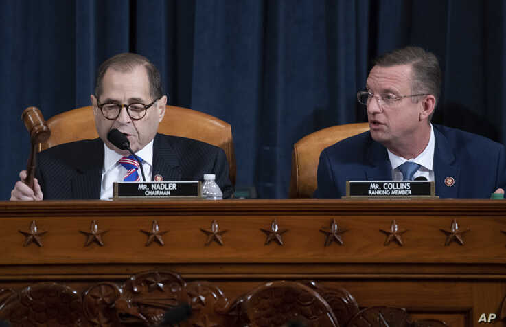 House Judiciary Committee Chairman Rep. Jerrold Nadler, D-N.Y., left, gavels the end of the hearing as ranking member Rep. Doug…