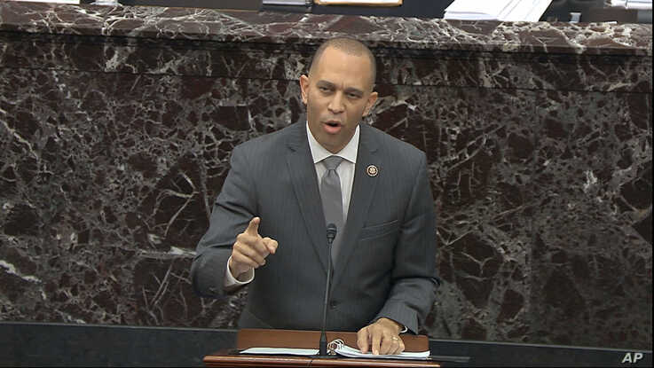 In this image from video, a House impeachment manager Rep. Hakeem Jeffries, D-N.Y., speaks during the impeachment trial against…