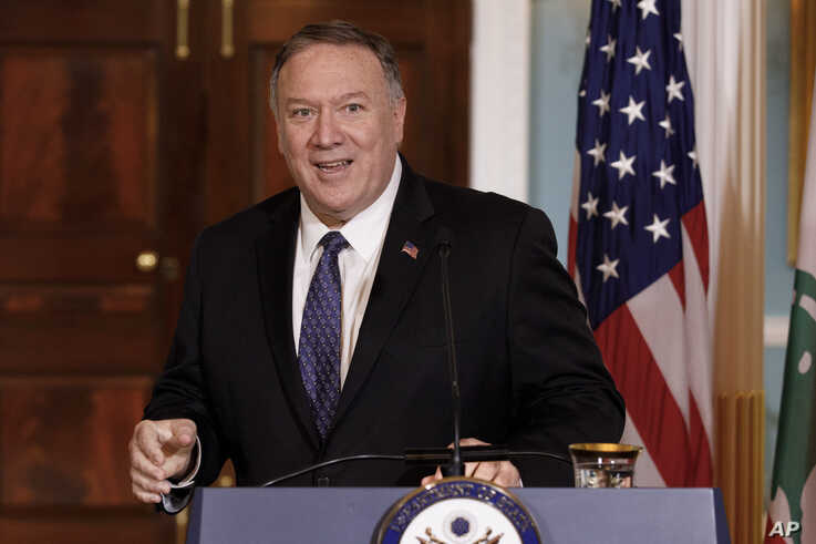 Secretary of State Mike Pompeo speaks to media during a news conference with Lebanese Prime Minister Saad Hariri at the State…