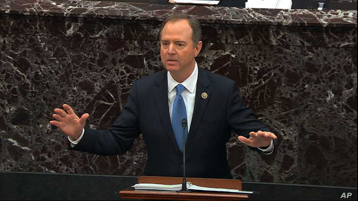 In this image from video, House impeachment manager Rep. Adam Schiff, D-Calif., speaks during the impeachment trial against…