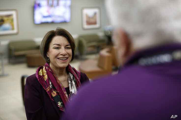Democratic presidential candidate Sen. Amy Klobuchar, D-Minn., tours the Culinary Health Center, Friday, Feb. 14, 2020, in Las…