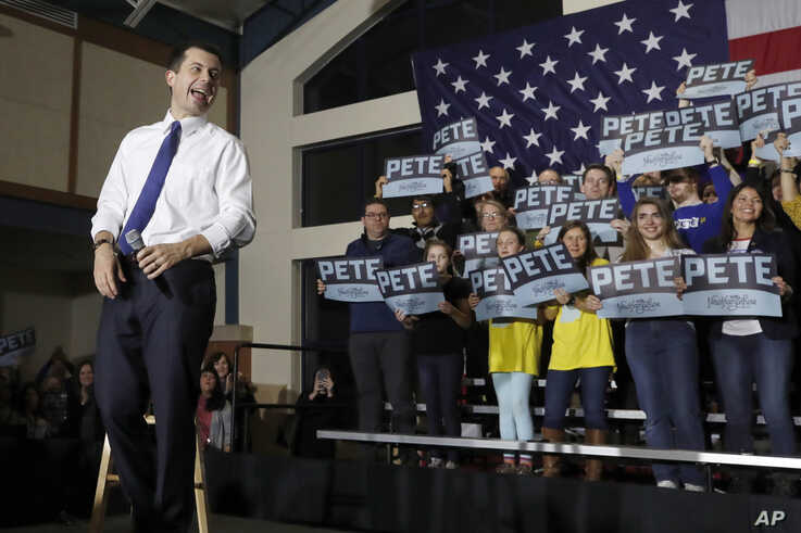 Democratic presidential candidate former South Bend, Ind. Mayor Pete Buttigieg reacts at a campaign event, Monday, Feb. 10,…