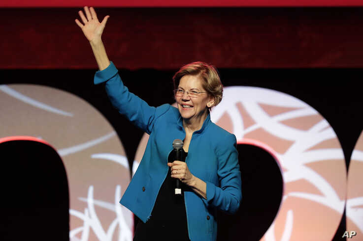 "Democratic presidential candidate Sen. Elizabeth Warren, D-Mass., speaks at a ""Care In Action"" campaign rally, Tuesday, Feb. 18…"