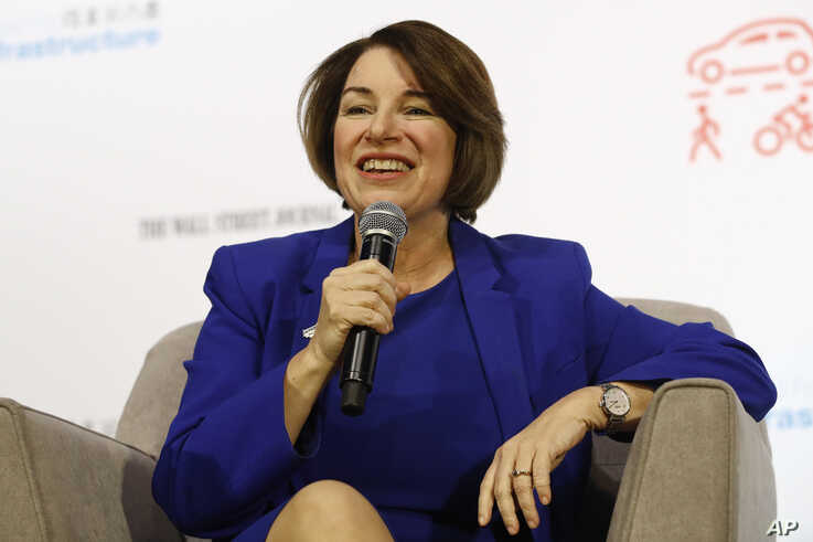 Democratic presidential candidate Sen. Amy Klobuchar, D-Minn., speaks during a candidate forum on infrastructure at the…