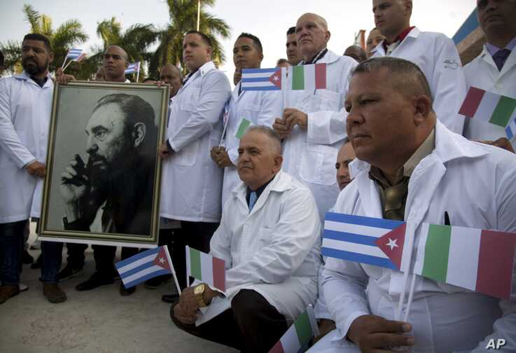 Several of the Cuban doctors and medical professionals that will depart for Italy to assist with the pandemic in the country…