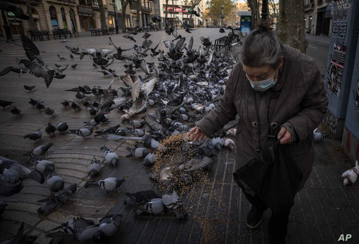 A woman wearing a protective face mask feeds birds in Las Ramblas of Barcelona, Spain, Saturday, March 21, 2020. For some…