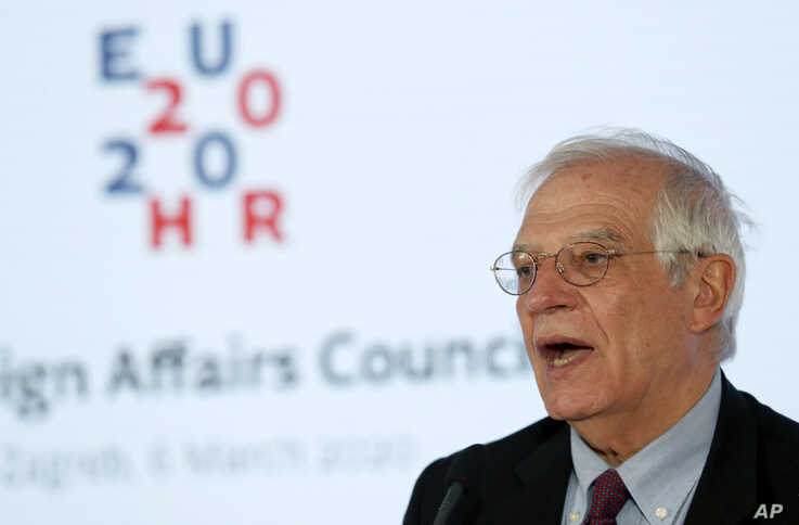 European foreign policy chief Josep Borrell speaks during a press conference after a EU foreign affairs council in Zagreb,…