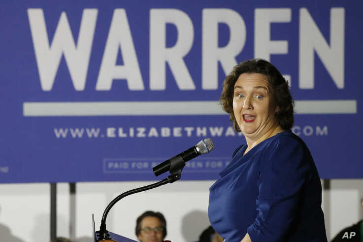 Rep. Katie Porter, D-Calif., speaks as a surrogate for Democratic presidential candidate Sen. Elizabeth Warren, D-Mass., at a…