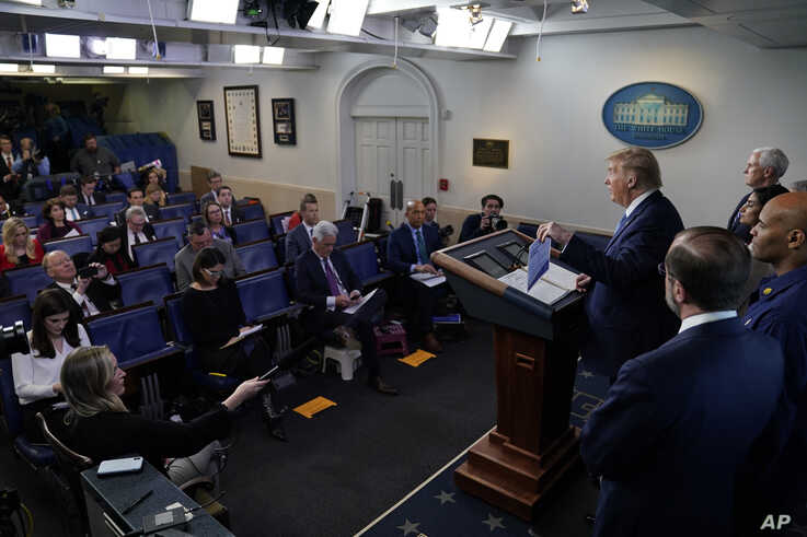 President Donald Trump speaks during a press briefing with the coronavirus task force, in the Brady press briefing room at the…