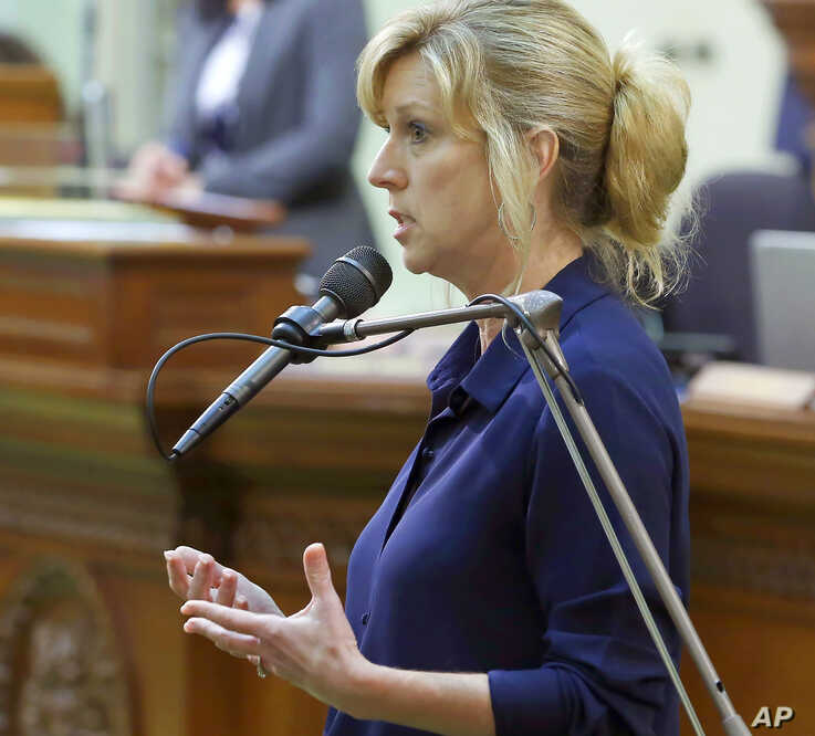 FILE - In this June 17, 2019, file photo, Assemblywoman Christy Smith, D-Santa Clarita, speaks in a session of the California…