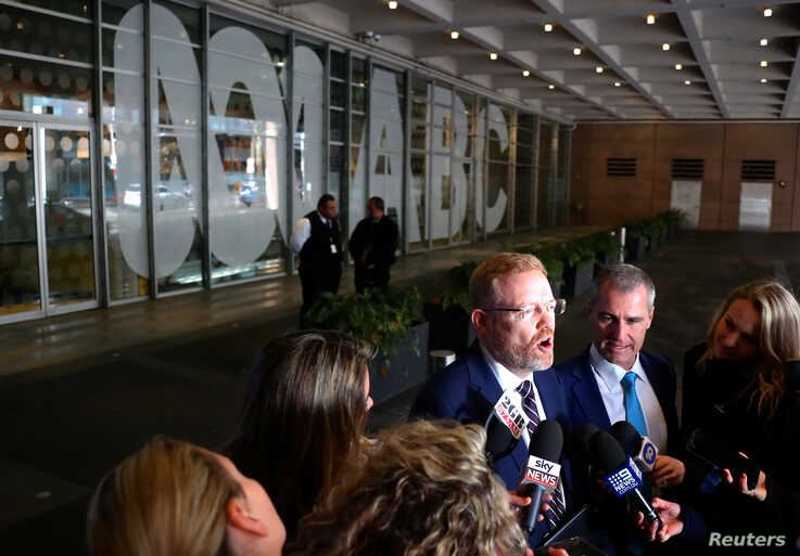 Editorial Director of the ABC Craig McMurtie speaks to members of the media outside the ABC building located at Ultimo in Sydney