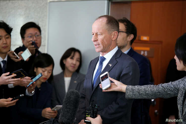 David Stilwell, U.S. Assistant Secretary for East Asian and Pacific Affairs, answers reporters' questions after a meeting with…