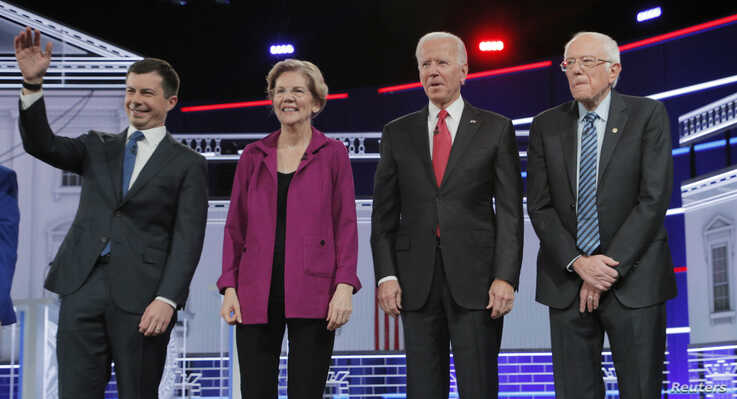 Democratic U.S. presidential candidates South Bend Mayor Pete Buttigieg, Senator Elizabeth Warren, former Vice President Joe…
