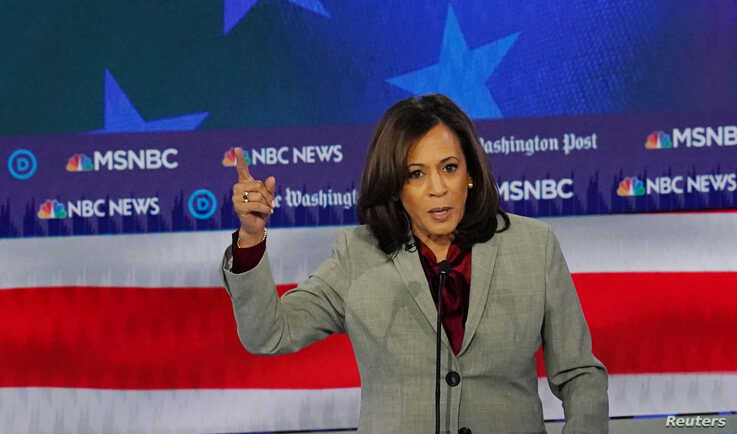 Democratic presidential candidate Senator Kamala Harris speaks during the fifth 2020 campaign debate at the Tyler Perry Studios…