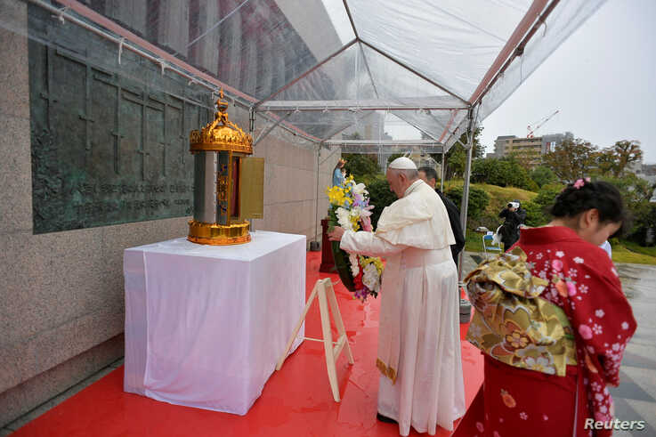 Pope Francis places a wreath during his visit to the Martyrs' Monument at Nishizaka Hill, in Nagasaki, Japan, November 24, 2019…