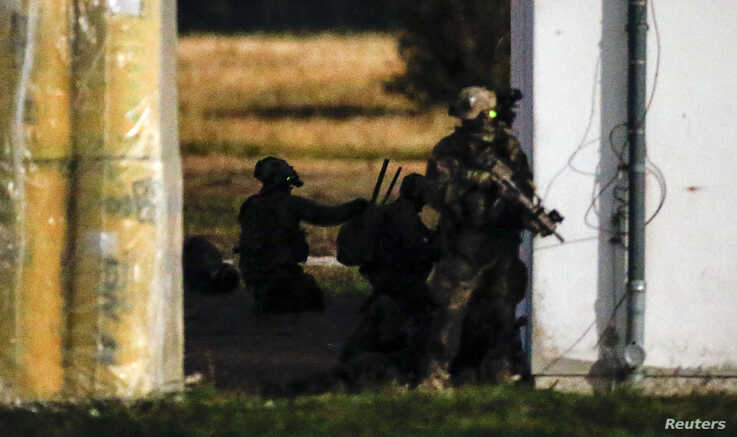 Soldiers of German armed forces Bundeswehr Special Forces Command (KSK) attend an exercise close to Putgarten, Germany…